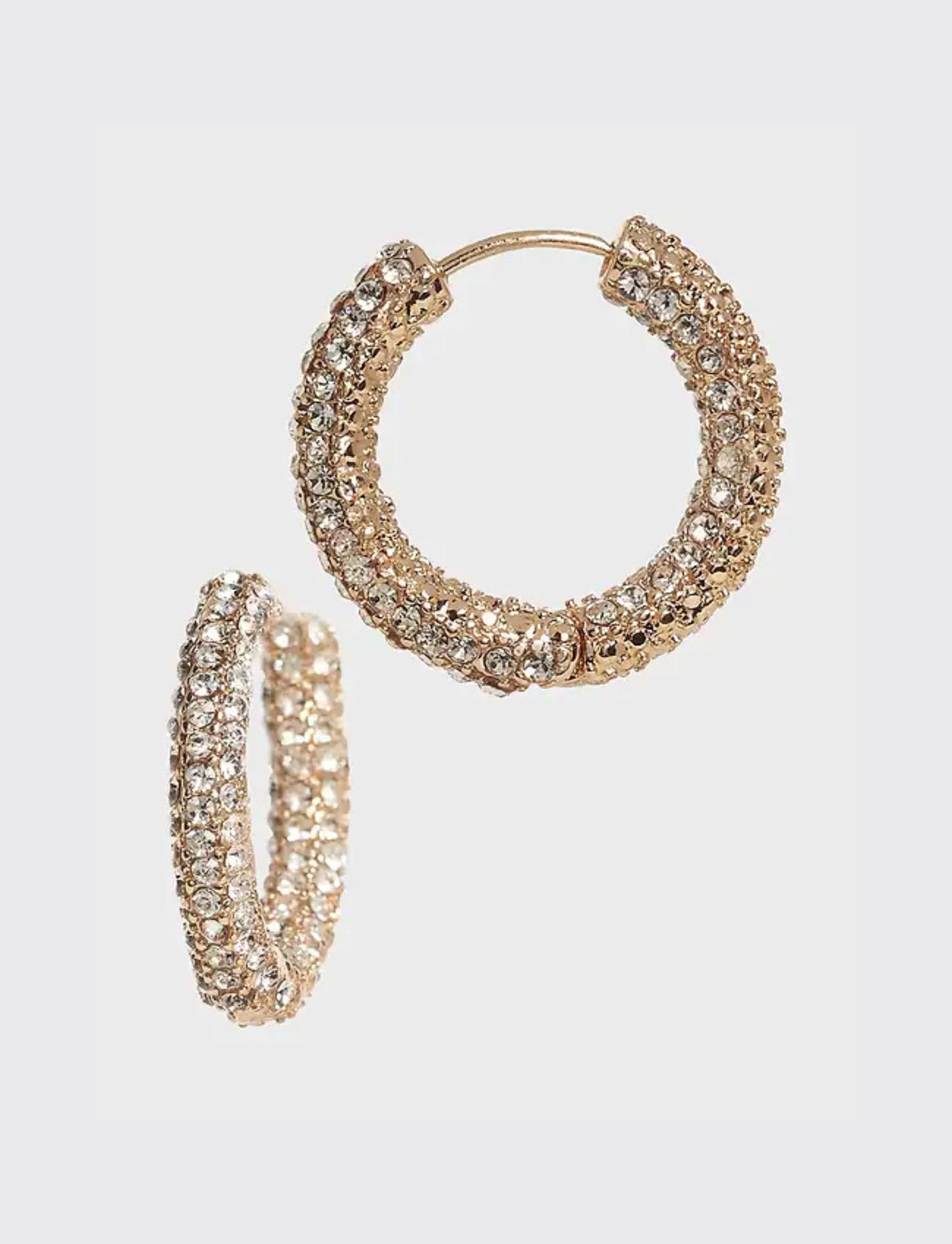 Medium Pave Hoop Earrings - Gold