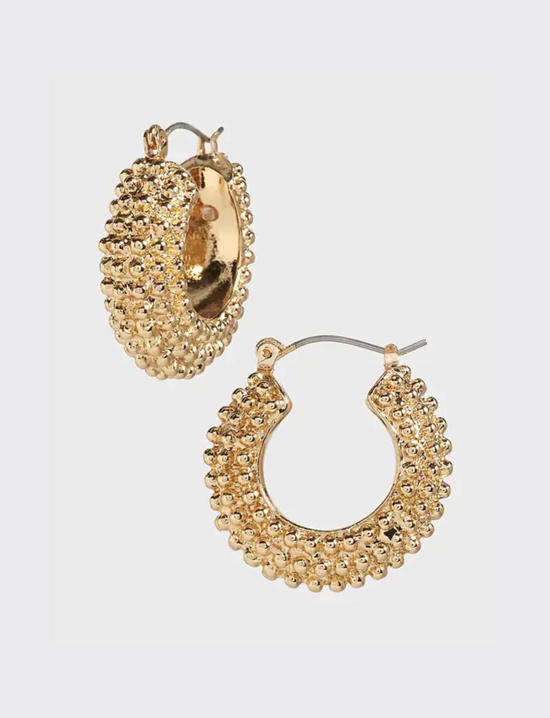 Thick Textured Hoop Earrings