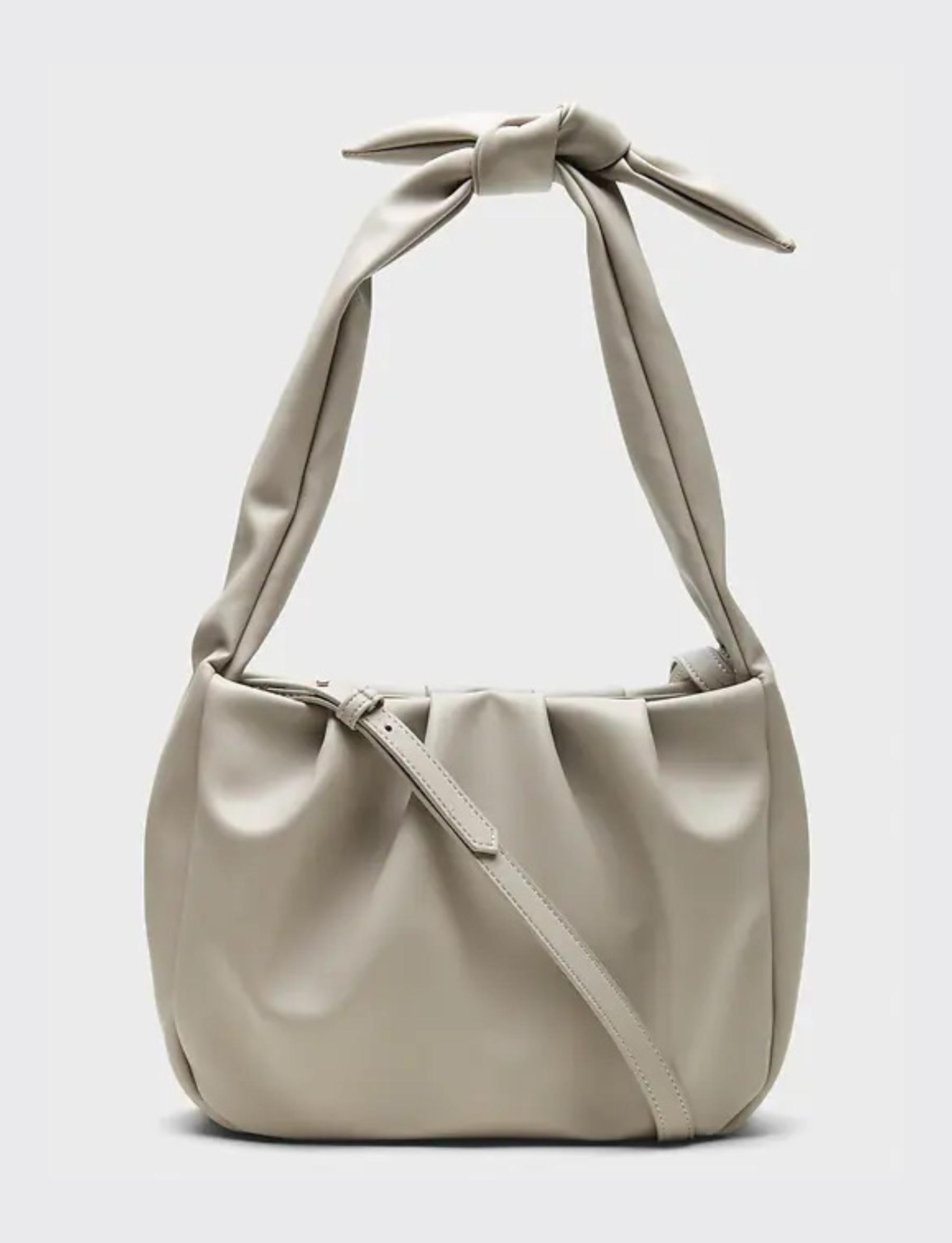 Soft Tie Strap Shoulder Bag - Gray